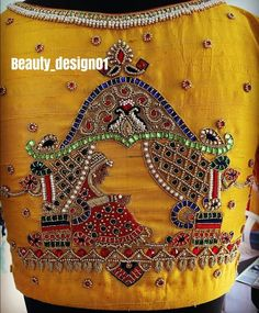 Saved by radha reddy garisa Wedding Saree Blouse Designs, Blouse Designs Silk, Designer Blouse Patterns, Hand Embroidery Design Patterns, Hand Work Embroidery, Hand Work Blouse Design, Maggam Work Designs, Maggam Works, Indian Drawing
