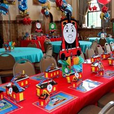 Thomas the Tank Train Birthday Party Centerpiece.  Playpatterns.net