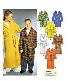 Simplicity 9941 Childs Bathrobe Size AA Easy to Sew Unisex Robe Uncut Sewing Pattern Designer Simplicity Sewing Patterns, Seersucker, Flannel, Unisex, Hoodies, Easy, Cotton, How To Wear, Stuff To Buy