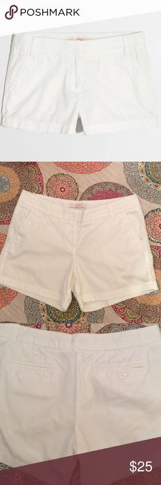 "J. CREW Broken In Chino 5"" Cotton Shorts, Like New J. Crew Broken in Chino Shorts, white, size 10. 4 pockets, one is faux. Look almost new. Laying flat, waist is 17.25"". Inseam 5"".  15% off 2 or more. J. Crew Shorts"