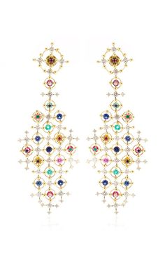 Alhambra 18K Gold and Precious Stone Drop Earrings by Wilfredo Rosado - Moda Operandi