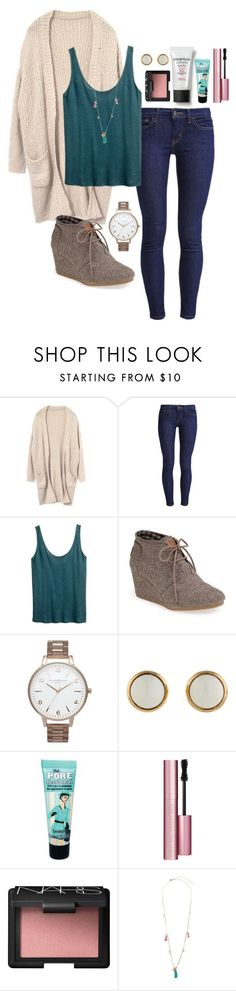 """""""Picture day tomorrow.......... :0"""" by robramey17 ❤ liked on Polyvore featuring Levi's, H&M, TOMS, Olivia Burton, Hermès, CC, Benefit, Too Faced Cosmetics, NARS Cosmetics and Topshop"""