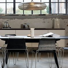 Warehouse style dining room.