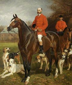 Godfrey Charles Morgan (1831–1913), 2nd Baron, 1st Viscount Tredegar, with His Huntsman, Mr Charles Barrett, in front of Tredegar, 1884, by John Charlton (1849-1917)