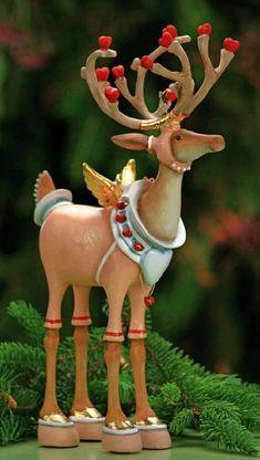 Patience Brewster Krinkles Dashaway Cupid Reindeer Christmas Ornament by… Reindeer Christmas Gift, Santa And His Reindeer, Christmas Ornaments, Merry Christmas, Christmas Blessings, Christmas Deer, Santa Baby, Felt Ornaments, All Things Christmas