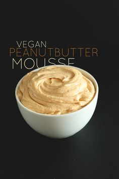 Vegan peanut butter mousse made with coconut milk, peanut butter, and a agave nectar! Spread it on cakes, muffins, and cookies; use as a fruit dip; or eat straight up as mousse! Peanut Butter Mousse, Peanut Butter Frosting, Vegan Peanut Butter, Coconut Mousse, Almond Butter, Coconut Dessert, Oreo Dessert, Coconut Milk, Coconut Cream