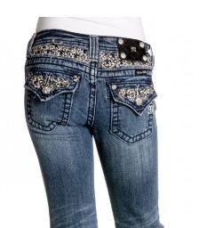 Miss Me Girls Fancy Bling Petite Fleur Denim Jeans sz. 7-14