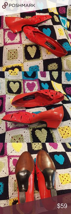 BNWT WEITZMAN FOR MARTINIQUE RED KITTEN HEELS These open toed cherry red leather and snake skin kitten heels are absolutely EXQUISITE!  Grab them while you can!  I never got to wear them! Stuart Weitzman Shoes Heels