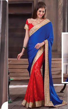 Embroidered Red Saree | Silk Saris, Indian Sarees, Designer Sarees online | Buy Indian Saris and Bridal Sarees | Printed Sarees