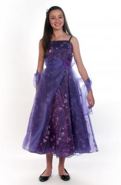 Purple long length embroidered prom dress 8-14y (3020) Supplied by Justdresses.co.uk