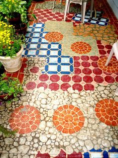 I hand painted my small concrete patio. This added so much color and happiness to my little piece of land at my Condo. I hand painted my small concrete patio. This added so much color and happiness to my little piece of land at my Condo. Concrete Patios, Concrete Floors, Stained Concrete, Concrete Staining, Concrete Backyard, Broken Concrete, Concrete Walkway, Painted Cement Patio, Painted Floors