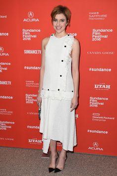 Actress Greta Gerwig in Proenza Schouler Spring 2016 at the Sundance Film Festival