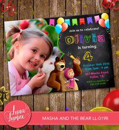 Masha and the bear Invitation ,Masha and the bear Card Party Invitation, Party Printable Chalkboard with Photo  LL-0198