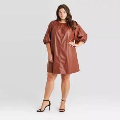 Women's Faux Leather Balloon Long Sleeve Shift Dress - Who What Wear™ Fall Dresses, Pretty Dresses, Eyelet Dress, Best Jeans, Short Sleeve Dresses, Long Sleeve, Who What Wear, Sleeve Styles, Cold Shoulder Dress