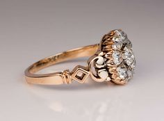 Antique Russian Diamond Cluster Ring image 2