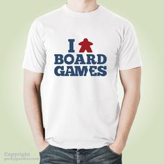 I (Meeple) Board Games T-shirt | White Meeple Tshirts for Board Game Geeks and…