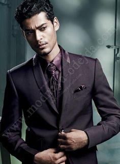 Тёмно-фиолетовый классический мужской костюм-тройка (с жилетом)   рубашка   галстук