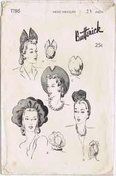 ORIGINAL BUTTERICK Vint SEXY Millinery HAT TURBAN FASCINATOR FABRIC Pattern 1786