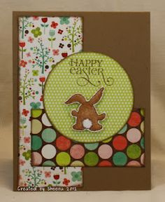 """One of this year's Easter cards. Stamps are from Verve Stamps, papers are My Mind's Eye Lime Twist """"Life of the Party""""."""