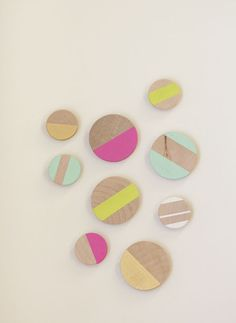 wood + color magnets. these are awesome!!
