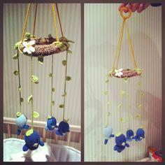 Movil de Nido y pájaros hecho por Lore Frontado y Dani Fajardo! Para Ber!!!  Amigurumi