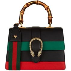 Gucci Small Dionysus Stripe Bamboo Handle Bag ($2,500) ❤ liked on Polyvore featuring bags, handbags, bamboo handle purse, gucci handbags, handle handbag, bamboo handle handbag and top handle bags