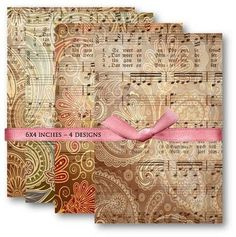 Digital Papers Vintage Paisley Music Sheet Digital Collage Sheet Scrapbooking Supplies Set 472.