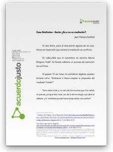 Caso Sindicatos-Iberia: ¿Es o no es mediación? por Franco Conforti acuerdojusto.com/Acuerdo_Justo/… #Mediación: artículos para descarga gratuita de Acuerdo Justo®.