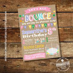 Trampoline party birthday invitation Bounce House jump invite kraft pink girl birthday trampoline digital printable you print invite 14033 by myooakboutique on Etsy