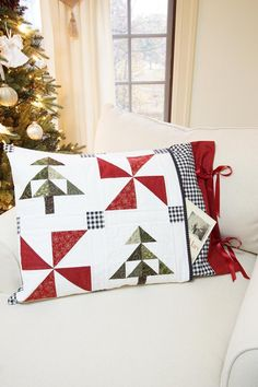 Christmas Quilt Patterns PDF and FREE Pillow Sham Pattern Easy Farmhouse Quilt Pattern Winter Quilt Pattern Christmas Tree Quilt Pattern, Christmas Quilting, Farmhouse Quilts, Panel Quilts, Quilt Blocks, Red And White Quilts, Winter Quilts, Star Quilt Patterns, Easy Quilts