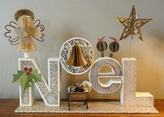 "Needles 'n' Knowledge: 'NoeL"" 3d Letter Box Ensemble  Yet another amazing creation!"
