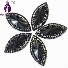 Black Resin Flatback Rhinestone 100pcs/lot 40*20mm Cabochon Jewelry Finding Garment Accessories Jewellery Beads Gemstone(China (Mainland))