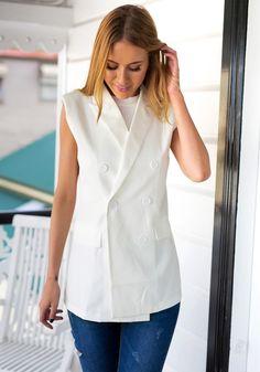 White Double-Breasted Sleeveless Blazer