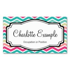 Pink Turquoise Chevron Personal Business Card. This great business card design is available for customization. All text style, colors, sizes can be modified to fit your needs. Just click the image to learn more!