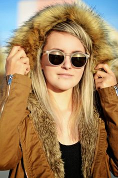 Choineczka,parka,bershka,fashion,zerouv sunglasses,braid,fur