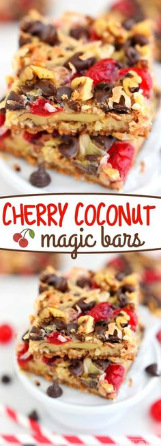 Cherry Coconut Magic Bars have all your favorites in one easy to make dessert bar! If you love cherries, chocolate, and coconut together like I do - prepare for true bliss! // Mom On Timeout #cherry #coconut #chocolate #magicbar #recipe #magic #dessert #recipes #pecans #walnuts