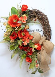 Country Spring Wreath, Summer Wreath, Front Door Wreath, Country Poppy Wreath, Natural Burlap Bow, Bird Nest, Country Decor, Orange Flowers
