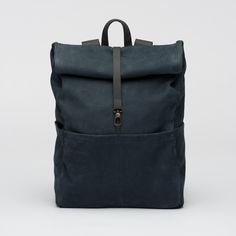 Backpack-Leather- Navy Stone- bag- Integrated Laptop Case-Roll-Top-Padded Back-Several Inner and Outer Pockets-1