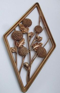 Vintage Syroco Floral Diamond Wall Hanging Gold Made In USA Retro Decor Flowers