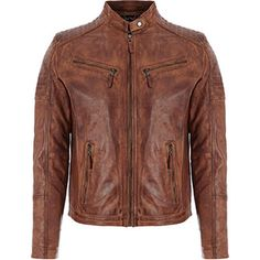 Aviatrix Brown Leather Biker Jacket