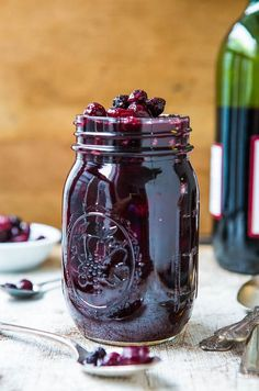Cabernet Blueberry Cranberry Sauce adds earthy and fruity flavors to your already sweet and sour cranberry sauce—delicious! | Averie Cooks