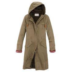 Mantel, Verdeckter Reißverschluss, Tunnelzug, Brusttaschen, Klappentaschen, Stickerei, leger geschnitten Vorderansicht
