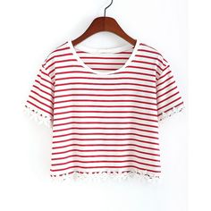 SheIn(sheinside) Red Striped With Appliques Crop T-Shirt ($8.99) ❤ liked on Polyvore featuring tops, t-shirts, shirts, tees, crop tops, red, striped shirt, white short sleeve shirt, red t shirt and striped t shirt