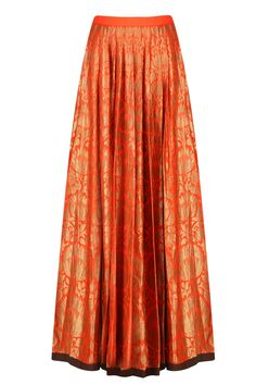 Tangerine orange and gold brocade flared kalidaar lehenga skirt available only at Pernia's Pop Up Shop.
