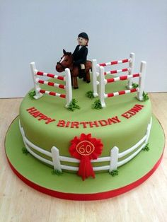 show jumping themed novelty birthday cake Fondant Horse, Horse Cupcake, Novelty Birthday Cakes, Novelty Cakes, Horse Birthday, Birthday Cake Girls, Trampoline Cake, Susie Cakes, First Communion Cakes