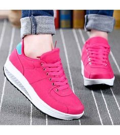 Women's #red canvas lace up #rocker bottom sole shoe sneakers, lightweight, sewing thread design, casual, leisure occasions.