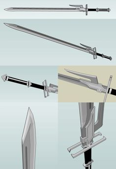 Hunter Sword by RelativelyBest Fantasy Sword, Fantasy Weapons, Anime Weapons, Zombie Weapons, Hidden Weapons, Viking Sword, Sword Design, Master Sword, Weapon Concept Art