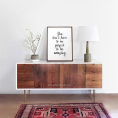 You don't have to be perfect to be amazing printable art Decor Interior Design, Interior Styling, Interior Decorating, Decorating Ideas, Apartment Living, Living Room, Large Black, Black And White, Wood Drawers