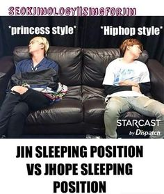 Jin sleeping Vs Hobi sleeping #BTS ©