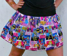 DC Comic Books Hero Girls Skirt shirt Wonder Woman Super girl Batgirl | PoppysWickedGarden - Clothing on ArtFire